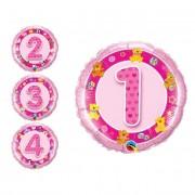 Partygram Globo redondo de números rosa de 46 cm - Número 3