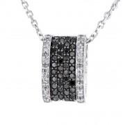 Pendentif pavés diamants noirs et blancs en argent