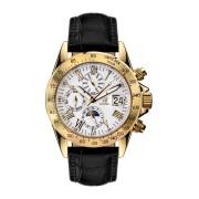 【85%OFF】Le Capitaine gold silber Leder ラウンド レザーベルト ウォッチ ホワイト/ゴールド ファッション > 腕時計~~メンズ 腕時計