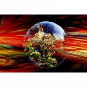 Tablou Canvas Glob de cristal 90 x 60 cm Rama lemn Multicolor