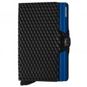 Secrid Porta Carte Doppio Scomparto con Clip linea Cubic in Pelle Black e Blue con RFID