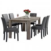 [en.casa]® Blagovaonski stol - rustični hrast - 160x90 cm - sa 6 tapeciranih stolica - crvena - Križevci