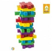 Turn instabil din lemn colorat- Momki cu Carti de joc PACALICI Vintage