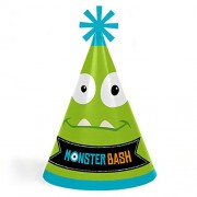 Big Dot Of Happiness Monster Bash - Cone Little Happy Birthday Party Hats For Kids And Adults Set 8 (Standard Size)