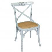 Bolero houten stoel met gekruiste rugleuning antiek blue wash - 2