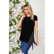 Bluza dama StarShinerS neagra casual lunga cu croi larg din jersey cu franjuri