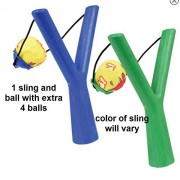 Water ball sling shooter with foam balls (5 total) Colors vary blue or green, foam balls multicolor by Splash and Swim