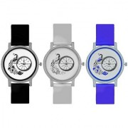 Octus Peacock Design Round Dial Analog Watches Combo Of 3 Pc For Ladies And Girls