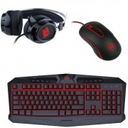 Kit Genius Gaming Keyboard + Gaming Headset + Gaming Mouse, wired, black, KMH-200 (K + M) Interface USB, concave/optical, KMH-200 (HS-G500) Driver