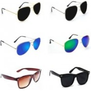 Sulit Aviator, Wayfarer Sunglasses(Black, Black, Blue, Green, Brown, Black)