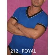 Whittall & Shon Contrast Trim V Neck Short Sleeved T Shirt Royal/Black 212