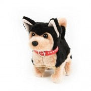 WonderPlay Walking Plush Toy Dog - Walks, Sounds, Swings -Black & Brown