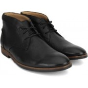 Clarks Broyd Mid Black Leather Lace Up For Men(Black)
