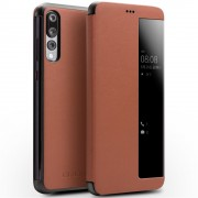 QIALINO View Window Cowhide Leather Smart Shell Case for Huawei P20 Pro - Brown