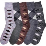 Lotus Men's Woolen Socks Winter wear Full Length Multicolour 5 Pairs of Socks