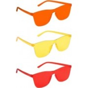 Dazzle Enterprises Wayfarer, Over-sized, Rectangular Sunglasses(Red, Orange, Yellow)