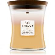 Woodwick Trilogy Summer Sweets lumânare parfumată cu fitil din lemn 275 g