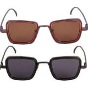 FERRET Retro Square Sunglasses(Black, Brown)