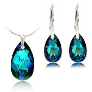 Set cercei + pandantiv argint cristal Swarovski para albastru Bermuda