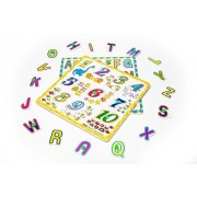 Apriller Deluxe Classic Wooden Alphabet and Numbers Pegged Peg Puzzle Bundle Shape Recognition Sorter Toys