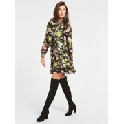 Guess Jurk Ruches Print All-Over - Bloemmotief - Size: Small