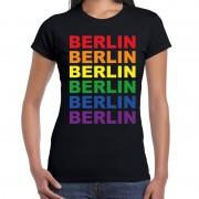 Bellatio Decorations Regenboog Berlin gay pride zwart t-shirt voor dames