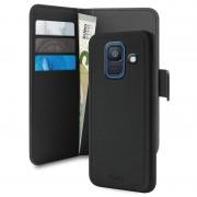 Bolsa tipo carteira magnética 2-em-1 Puro para Samsung Galaxy A6 (2018) - Preta