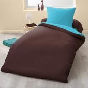 Parure de couette bicolore microfibre 140x200 cm chocolat turquoise