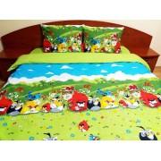 Lenjerie de pat Angry Birds - Duo Green, calitate I, gama Lenjerii CriDesign