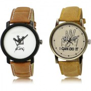 The Shopoholic White Brown Combo New Stylist Latest White And Brown Dial Analog Watch For Boys Mens Leather Watches