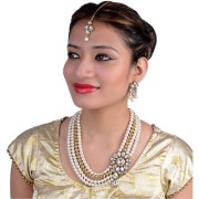 Lucky Jewellery Gold Plated White Alloy Necklace Set For Women