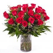 24 Rosas Rojas de Tallo Largo - Flores a Domicilio