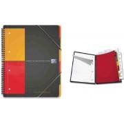 Caiet A4, spirala dubla, 80 file - 80g/mp, 4 perf., coperta PP, OXFORD Organiserbook - dictando