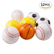 """Mseeur 12 Soft Foam Sports Balls For Kids 2.5"""" Perfect for Small Hands Includes 3 Soccer Ball, 3 Basketball, 3 Baseball, and 3 Tennis Ball"""