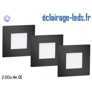 Kit support LED Noir encastrable Sol et Mur bleu 1W 230v ref sms-12