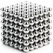 Joc Puzzle Antistres NeoCube Crom cu Bile Magnetice 216 Bucati, Diametru Bile 3mm