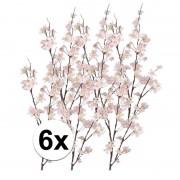 Bellatio flowers & plants 6x Kunstbloem appelbloesem tak roze 84 cm