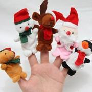 Fancyku 5pcs Christmas Finger Puppet Dolls Kids Children Soft Cartoon Series Doll Plush Toys Finger Puppet Set