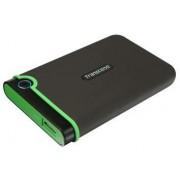 HDD Extern Transcend 25M3, 2.5 inch, 1TB, USB 3.0, Protectie la soc (Negru/Verde)