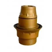 E14 PVC-Leuchtmittelfassung, Aussengewinde mit Schraubring, mit Kragen, Farbe gold.
