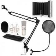 CM001S Set Microfono V5 Microfono A Condensatore Braccio Per Microfono Filtro Antipop Argento