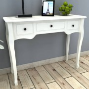 vidaXL Dressing Console Table with Three Drawers White