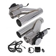BLACKHORSE-RACING 3 Inch Electric Exhaust Downpipe E-Cut Out Valve 2 Pcs with One Controller Remote Kit