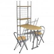 vidaXL Кухненски комплект 1 сгъваема маса и 2 сгъваеми стола
