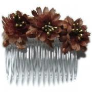 Peineta con flores color marrón