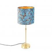 QAZQA Bordslampa guld / mässing med velour skugga fjärilar 25 cm - Parte