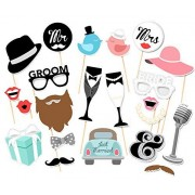 Elfun(TM) Wedding Party Photo Booth Props Kit Mr and Mrs Bride and Groom on Sticks -22count