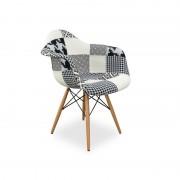 Replica Eames DAW Eiffel Armchair - black/white patchwork - plastic, black steel, natural wood legs