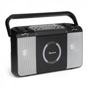 Auna Boomtown USB, boombox, CD lejátszó, FM rádió, MP3, hordozható bőrönd rádió, fekete (CS13-Boomtown BK)