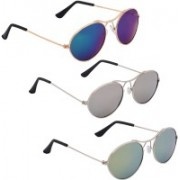 Phenomenal Oval Sunglasses(Blue, Silver, Green)